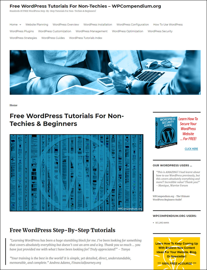 WPCompendium.org - Hundreds Of Free WordPress Tutorials For Non-Techies!